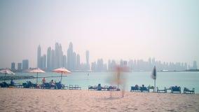 Palmy Dubai plażowego marina czasu panoramiczny upływ zbiory