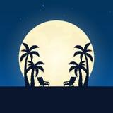 Palmy i holu krzesła sylwetka Sztandar z księżyc na nocy tle również zwrócić corel ilustracji wektora ilustracja wektor