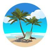 Palmy plaże i bryczki longue wektoru ilustracja ilustracja wektor