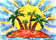 palmy spoczynkowi denni lato drzewa Fotografia Stock