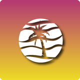 Palmy sunset. Palm tree, sunset and wave by nightly hue stock illustration