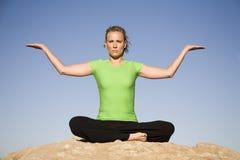 palmy target2264_1_ w górę kobiety joga Obraz Stock