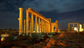 Palmyra. Syria -Ancient city Palmyra by night Stock Photo