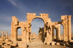 Palmyra antico in deserto siriano Fotografia Stock