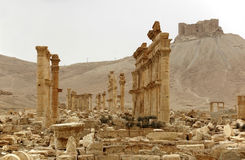 Palmyra and the arab castle. A view of Palmyra, on the Syrian desert Stock Photography