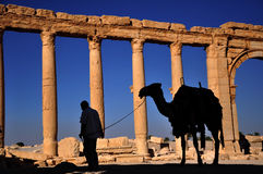 Palmyra, Syria. The ruins of the ancient city Palmyra before the war. Palmyra, Syria. Photo taken: October 10, 2010 Royalty Free Stock Image