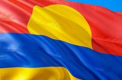 Palmyraatollflagge 3D, das USA-Staatsflaggenentwurf wellenartig bewegt Das nationale US-Symbol des Palmyraatollzustandes, Wiederg stockfoto