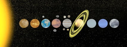 Solar system - 3D render stock illustration
