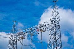 Palo ad alta tensione della centrale elettrica Fotografie Stock Libere da Diritti