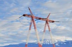 Palo ad alta tensione della torre di elettricità di potere Fotografia Stock