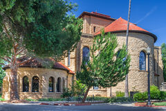 Palo Alto, CA/USA - circa im Juni 2011: Zurück von der Erinnerungskirche im Hauptviererkabel von Stanford University Campus in Pa Lizenzfreie Stockfotos