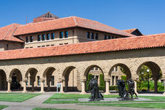 Palo Alto, CA/USA - circa June 2011: Auguste Rodin - The Burghers of Calais Sculptures in Memorial Court of Stanford University Ca Royalty Free Stock Images