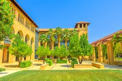 Stanford Palo Alto. Palo Alto, California, United States - August 13, 2018: courtyard of SIEPR: Stanford Institute Economic Policy Research. Stanford University stock images