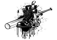 Palo, bota, cuchillo y manopla Fotografía de archivo