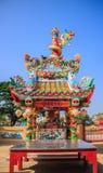 Palo cinese del drago e del santuario Fotografia Stock