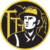 Palo del riparatore dell'elettricista del guardalinee di potenza Immagine Stock Libera da Diritti