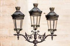 Palo della luce d'annata della lanterna della via davanti a Notre-Dame de Pari Fotografie Stock