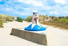 Palo 00 della spiaggia della Normandia Utah Immagini Stock