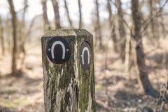 Palo di legno con il segno a ferro di cavallo Fotografia Stock Libera da Diritti