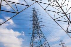 Palo di potere e linea di elettricità ad alta tensione con il backg del cielo blu Immagini Stock