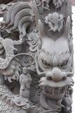 Palo di scultura di pietra della scultura del drago immagini stock libere da diritti