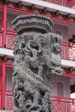 Palo di scultura di pietra della scultura del drago fotografia stock libera da diritti