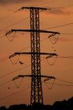 Palo e linee di elettricità Fotografia Stock