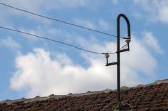 Palo elettrico del vecchio metallo Fotografie Stock Libere da Diritti