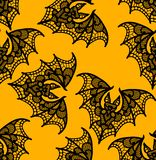 palo Modelo inconsútil Modelo negro del cordón Fondo amarillo libre illustration