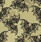palo Modelo inconsútil Modelo negro del cordón Fondo amarillo stock de ilustración