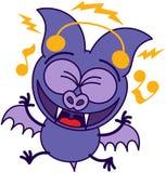 Palo púrpura que escucha la música stock de ilustración