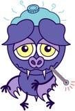 Palo púrpura que siente triste y enfermo stock de ilustración