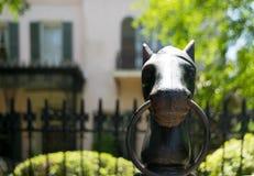 Palo per i cavalli della testa di cavallo del ghisa Immagine Stock