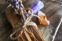 Free Palo Santo Smudge Sticks And Healing Crystals Stock Image - 215777331