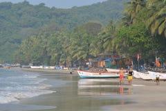 Palolem海滩在果阿 免版税图库摄影