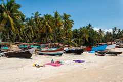 Palolem海滩,南果阿,印度 免版税库存照片