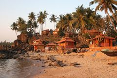 Palolem beach Goa. Bungalows on Palolem beach Goa India Royalty Free Stock Photography