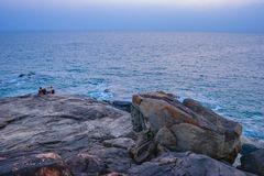 Palolem beach on sunset. Rocky coast in Goa, India Royalty Free Stock Image