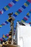 Paloma en el stupa de Nepal Imagenes de archivo
