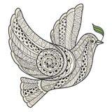 Paloma estilizada con el zentangle del estilo de la rama de olivo Fotos de archivo libres de regalías