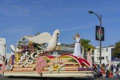 Paloma pacífica, flotador del premio de la reina en Rose Parade famosa Imagen de archivo libre de regalías