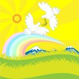 Paloma y arco iris stock de ilustración