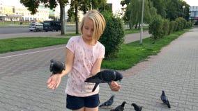 Palomas de alimentación de la chica joven semillas de girasol con las manos en la calle en la ciudad almacen de metraje de vídeo