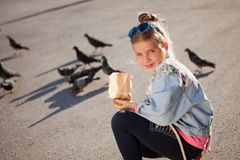 Palomas de alimentación de la niña adorable al aire libre Foto de archivo