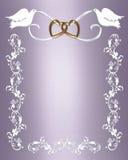 Palomas del blanco de la invitación de la boda Foto de archivo libre de regalías
