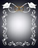 Palomas del blanco de la invitación de la boda Imagenes de archivo