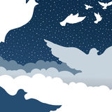 Palomas en cielo de la nube stock de ilustración