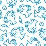 Palomas, plumas y de los huevos modelo inconsútil polivinílico bajo Líneas azules en el fondo blanco stock de ilustración