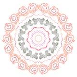 Palomas preciosas Imagen del vector Tarjeta con una declaración del amor mandala Foto de archivo libre de regalías