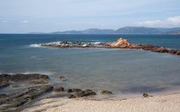 Palombaggia beach, Corsica. Long exposure picture of the beach of Palombaggia, in the south of Corsica Royalty Free Stock Photos